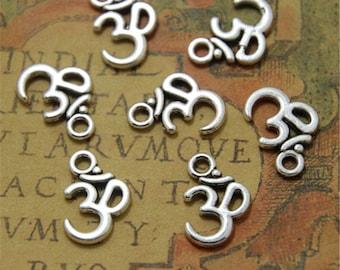 60pcs OM charms silver tone ohm Pendant Necklace Yoga Zen  10.5 x 16mm ASD0064