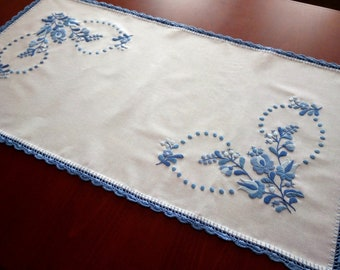 Hungarian embroidery. Hand-embroidered small blue tablecloth, table runner. Authentical Matyó motives.