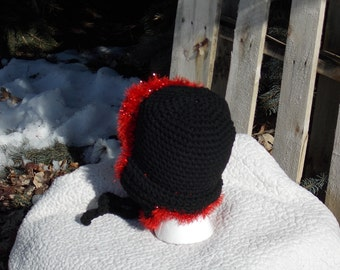 Red and Black Lumberjack/Bomber/Earflap/Aviator Winter Hat in black and red black and shiny red black and shimmery red