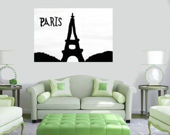Paris Eiffel Tower contemporary Modern Art black white Large Hand painting canvas Wall art unstretched house warming Home decor original art