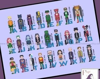 Superhero Comic Book Alphabet Cross Stitch Pattern - DC Inspired PDF Pattern - INSTANT Download