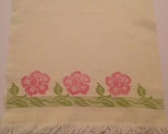 Vintage dish towel Embroidered dish towel  Huck dish towel Spring dish towel