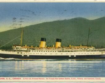 C.P.R. Ship Princess Patricia Seattle to Victoria & Vancouver BC Canada 1952 POSTCARD Post Card