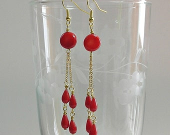 Red Coral Coin Dangles