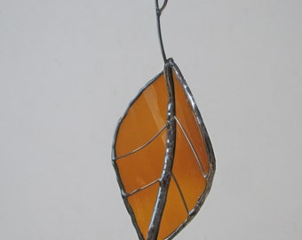 Brown Beech Leaf - Upcycled Stained Glass Suncatcher