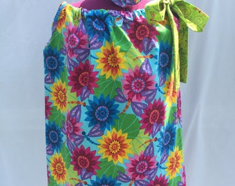Floral Dragonfly Pillow Case Dress Size 5 with Matching Hair Bow