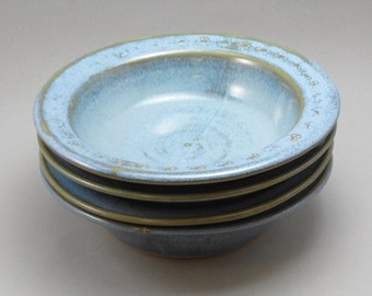 Reserved for Stefan and Meave, Set of bowls, four (4) blue dishes for dessert, cereal, or salad, textured rims, green highlights B17