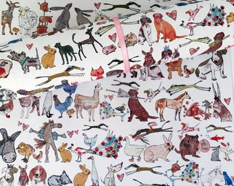 Gift Wrap, Quirky Eco Friendly Paper, Perfect pets design, Recycled Wrapping Paper, dogs and cats, pet wrapping paper design, Made in UK