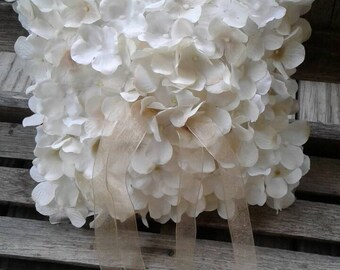 Hydrangea Covered Ring Bearer Pillow, Wedding Ring Pillow