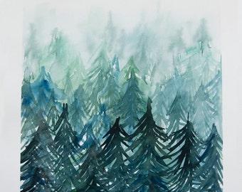 "Evergreens Original Watercolor Painting 12""x16"""