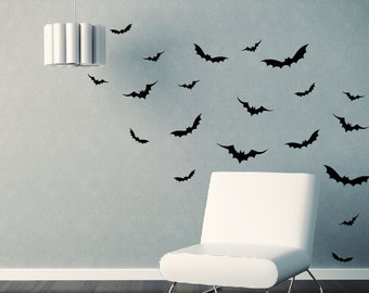 Flying Bats Vinyl Wall Decals - Set of 26 - Halloween Gothic