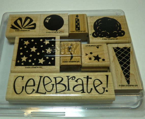 STAMPIN UP STAMPS ~ Wood Block Stamps ~ Birthday Celebration Stamps ~ Ice Cream Cone Stamp ~ Papercraft Stamps ~ Excellent Condition