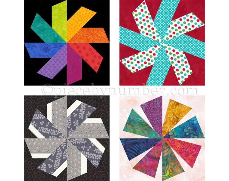 Swirligig Quilt Block Pattern Paper Piecing Quilt Pattern Whirling