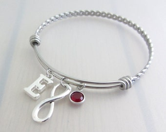 Infinity Charm Stainless Steel Bangle, Birthstone Initial Bangle, Personalised Silver Letter Bracelet, Eternity Bangle, Valentines Gift