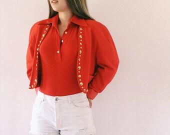 Red vintage vest,blazer,top,crop top vintage From the 90s
