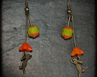 Rabbit Orange dangle earrings