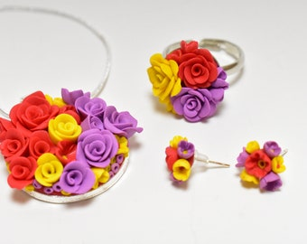 Floral set, polymer clay jewelry, red yellow purple flowers,earrings,floral ring,silver floral necklace,Fimo, ghift for her, unique set