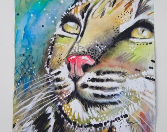 Bobcat ORIGINAL Mixed Media Painting