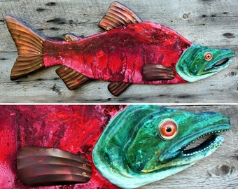 """37"""" Sockeye Salmon Wood and Metal Fish Sculpture,Salmon Wall Art,,Lodge Decor, colorful folk art fish, handcrafted in Vermont,unique gift"""