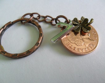 """7th Anniversary Gift Copper Wedding Anniversary gift 2011 British Coin Keyring with """"7"""" charm and lucky clover charm gift"""