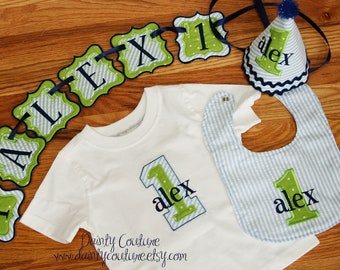 Boys First Birthday Party Hat, Bib, Shirt - Blue & white stripes with green and navy blue accents - Includes FIRST banner PIECE/LETTER