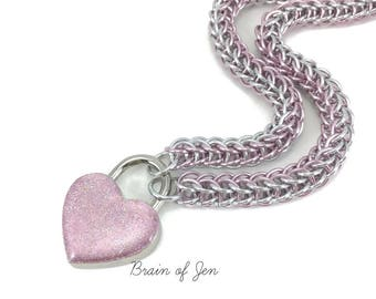 Slave Collar Pink and Silver Chainmaille Submissive Collar with Pink Heart Padlock
