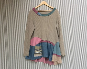 Upcycled Artsy sweater tunic, Recycled Cotton Sweater Top, Refashioned Clothing