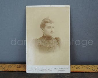 Antique Cabinet Photo, Woman in Victorian Bodice 6-1/2 x 4 inches 1800s early 1900s, Vintage Black & White