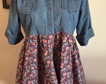Woman's Hand Crafted Upcycled Recycled Denim Tunic Top Blue Floral Ruffle Size Small