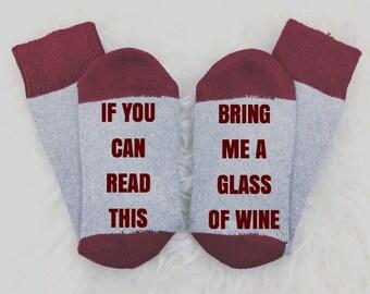 Wine Socks, If You Can Read This Bring Me Wine Socks, If You Can Read This, Festive Socks, Stocking Stuffer, Christmas Gift, Christmas Socks