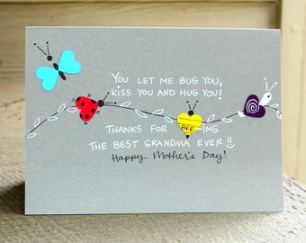 Mother's Day Card for Grandma, Happy Mother's Day, Mother's Day, Grandmother Mother's Day Card- Bugs and Kisses