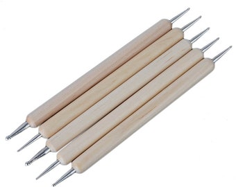Pack of 5 Wooden Marbling, Dotting and Decorating Tools. Double Ended Rods. 10 Different Sizes. 13cm Long. For Nail Art and Rhinestone