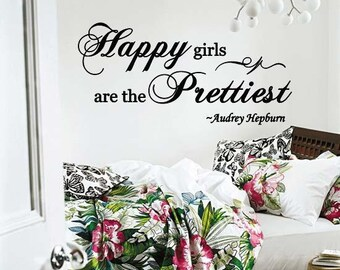 Wall Lettering Audrey Hepburn Quote Happy Girls are the Prettiest Vinyl Decal