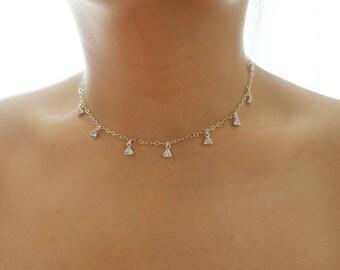 Sterling Silver Triangle CZ Diamonds Dainty Choker Necklace