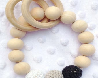 Wooden Teething Beads: Crocheted Black, White, Gray