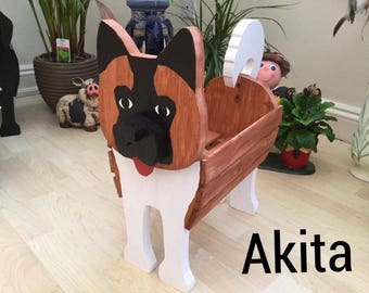AKITA,wooden,garden,planter,show,dog,personalised,ornament,decoration,name,tag,custom,made,pets,