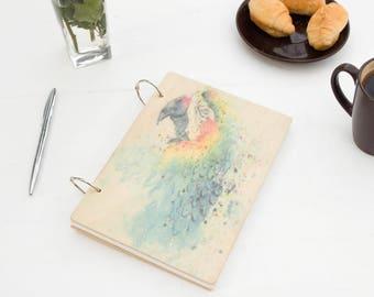 Parrot Notebook, Watercolor Notebook, Custom Notebook, Notepad, Wood Notepad, Parrot in Watercolor, Stylish Notebook,