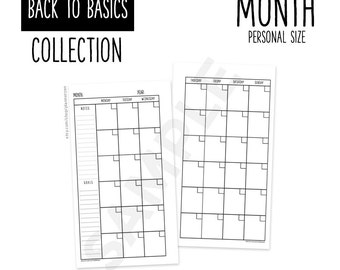 Printable Personal Planner MONTHLY Inserts Refills PERSONAL Size - Back to Basics Collection
