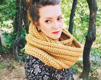 Bulky Scarf - Crochet Scarf - Womens Scarf - Mens Scarf - Chunky Scarf - Infinity Scarf - Oversized Scarf - Mustard Yellow || WIEBKE SCARF