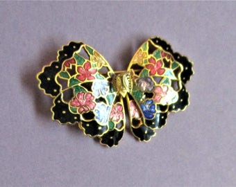 Cloisonne Butterfly Lapel Brooch Black Lilac Peach Gold Floral Butterfly Vintage Jewelry Pin Gift for Women Cloisonne Jewelry Brooch