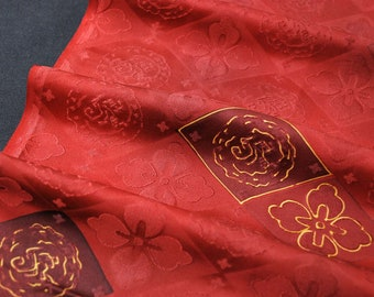 "13.7""w. x 53""l. Vintage silk kimono fabric red flower card 2984C"