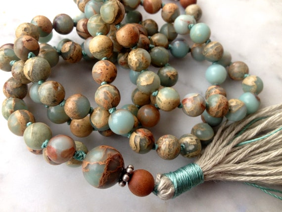 African Opal Mala Beads - Sandalwood Mala - 108 Beads - Healing Crystals - Unisex Gift - Yoga Meditation - Boho Jewelry, Mental Health Gift