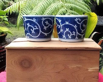 Arita Porcelain Cups Made in Japan, Vintage Japanese Soba Choko, Blue and White Hand Crafted Ceramic Cups/Bowls, Soup Bowls, Remekins