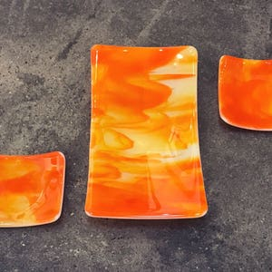 Handmade, Orange, Fused Glass Plate Set, Sushi Set, Accent Piece For Your