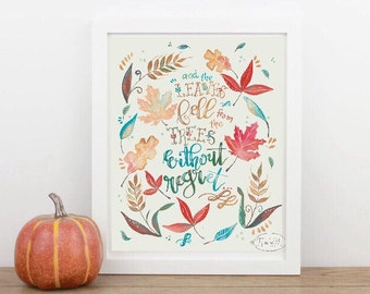 Watercolor Fall Print Digital Instant Download, Hand Lettered Boho Wall Decor Art, Bright and Cheerful Autumn Decor