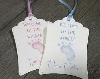 Baby Shower Tags - Set of 20 - Favors - Welcome to the world - Personalized - Baby foot print - Pink - Blue - Trending