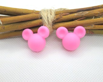 Silicone pacifier creation pink mouse head bead, rattle...