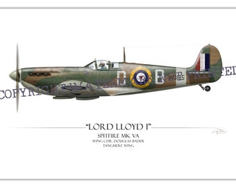 Spitfire - Douglas Bader WW2 Aviation Warbird Art Print