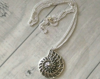 Ammonite pendant necklace, ammonite necklace, fossil necklace