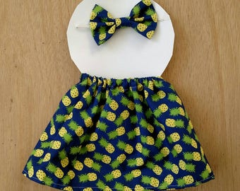 Doll outfit, pineapple pattern doll outfit, dress up outfit, dress up skirt, dress up headband, doll clothes